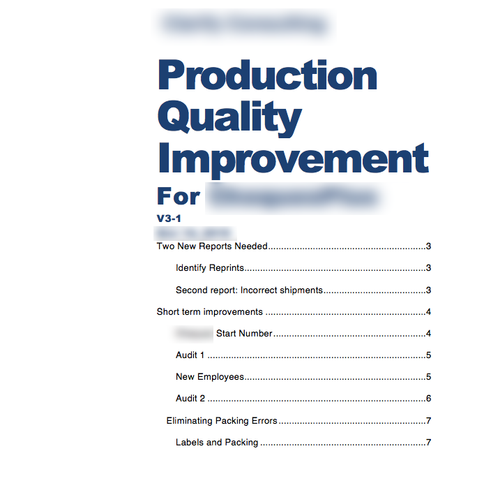 Production Improvement Business Analysis